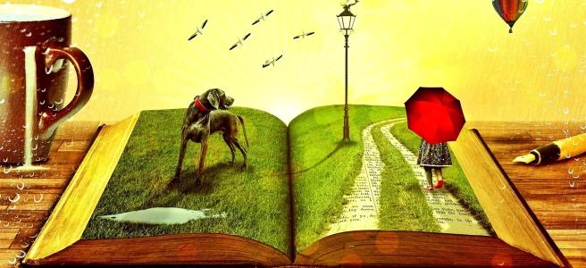 Книга, от която излизат приказни герои - куче, момиче, птици, балон, лампа