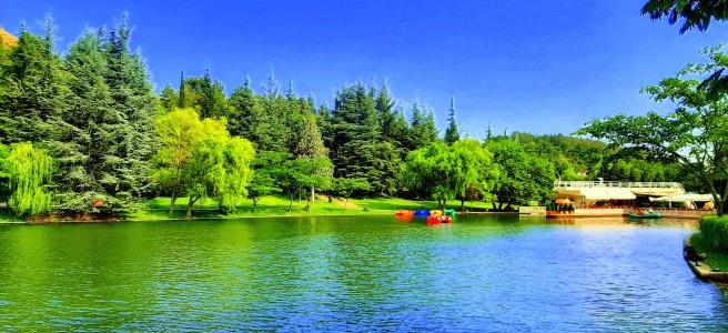 Изкуственото езеро в парк Свети Врач в град сандански. Пъстра снимка в синьо и зелено, виждат се и водните колела в езерото.